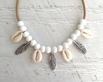bohemian jewelry, cowrie shell necklace, gypsy mermaid