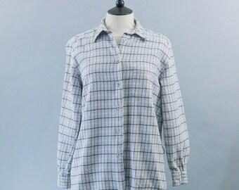 Vintage Accanto Per Donna Grey Cotton Flannel Shirt Grunge Indie Medium UK 12