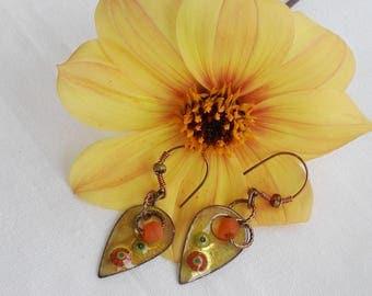 Sun Rays--Rustic Copper Enamel Charm Earrings  77