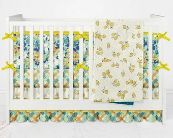Crib Bedding Hello Jane Girl Floral Lemmons Plaid Flowers Custom Made Fabrics 3 tiered ruffled crib skirt Yellow Green Blue Orange