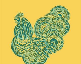 Chicken with Beautiful Plumage Printable/Downloadable Print