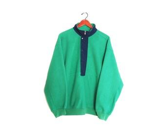 vintage jacket / fleece jacket / 90s GAP fleece / 1990s green GAP fleece anorak windbreaker jacket Large