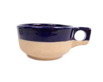 Vintage Cobalt Blue Soup Mug Western Stoneware Salt Glaze Soup Bowl Monmouth Pottery Maple Leaf
