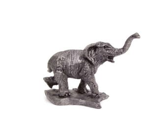 Vintage Pewter Elephant Figurine Tusk Up Michael Ricker Bartlett Good Luck Elephant RB Pewter Miniature Sculpture Hand Sculpted Safari Decor