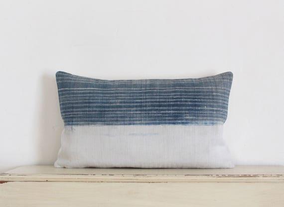 """Vintage indigo batik Hmong cushion cover 12"""" x 20"""""""
