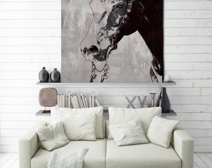 The Morgan Horse. Extra Large Rustic Horse, Equine Wall Decor, Black Rustic Horse, Large Farmhouse Wall Canvas Art Print up to 72