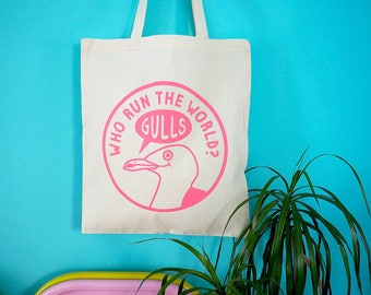 Funny Feminist Tote Bag, Beyonce Tote Bag, Gull Bag, Pink Beach Bag, Cotton Shopping Bag, Screenprint Bag, Seagull Tote, Animal Tote Bag