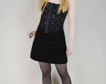 90s Gothic Black Lace Glitter Hook And Eye Tank Top XS / S