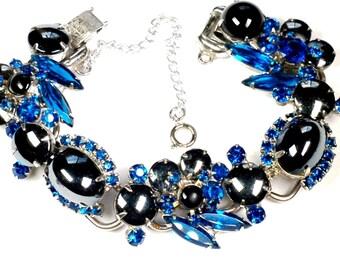 Juliana D&E Capri Blue Hematite Rhinestone Bracelet