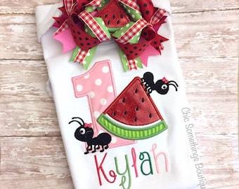 Watermelon shirt, watermelon birthday shirt, First Birthday, watermelon cake smash, watermelon birthday, ants watermelon, watermelon bow