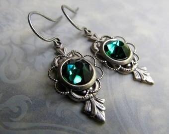 Opal Earrings Silver Fire Opal Earrings Art Nouveau Earrings Art Deco Earrings Opal Jewelry Emerald Earrings Ocean Opal Earrings- Mint