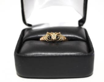 Vintage Owl Ring Brass Colored Size 7