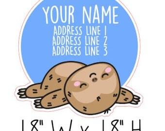 Kawaii Sloth Address Labels