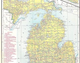 Vintage Michigan Map, 1945 Original Atlas Antique, Detroit, Lansing, Traverse City, Grand Rapids