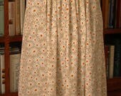 Happy daisy pleated midi maxi silky skirt / white tan orange / beach vacation spring summer