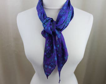 Vintage Neck Scarf Silk Ultra Violet Purple and Blue