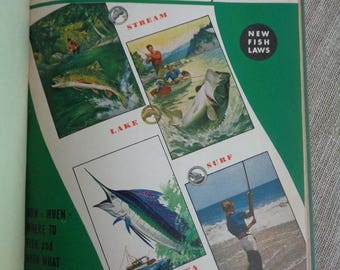 1942 Fishing and Vacation Year Book by Field and Stream and Outdoor Life Magazines Man Cave Ephemera Vintage Book