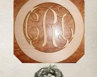 Beautiful Monogram Wood Cut Out - Laser Cut