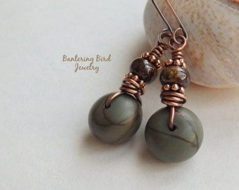 Picasso Jasper Earrings, Earthy Blue and Brown Stone Wheel with Bronzite, Boho Copper Jewelry