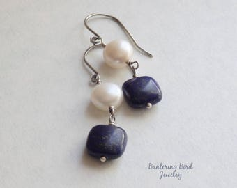 Lapis Earrings with White Pearl, Classic Sterling Silver Jewelry, Dark Blue Gemstone, Lapis Lazuli Jewelry, Gift for Woman