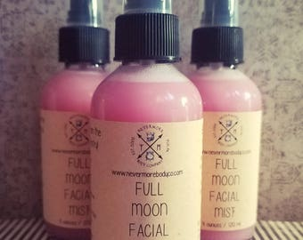 Full Moon Facial Mist Rose Water Spray Nevermore Body Company Rosehip Toner