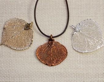 SALE Leaf Necklace, Real Aspen Leaf, Copper Aspen Leaf, Gold Aspen Leaf, Real Leaf Necklace, Silver Aspen Leaf Pendant, SALE107