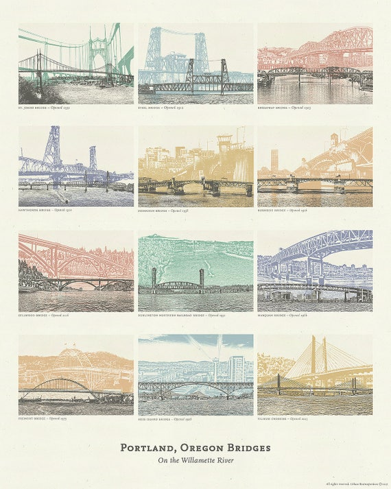 Portland, Oregon Bridge Poster - 12 Willamette River Bridges in Portland - 16x20 Print