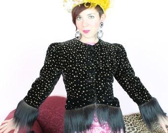 Spectacular 1940s I Magnin Black Velvet Bolero Jacket with Fur Trim Size Small As-Is