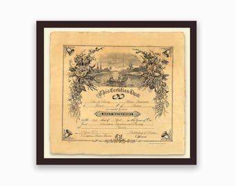 Custom Vintage Marriage Certificate - Romantic - Marriage Certificate - Art Nouveau