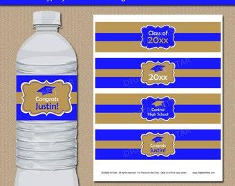 High School Graduation Party Ideas, Printable College Graduation Water  Bottle Label Template, EDITABLE Labels