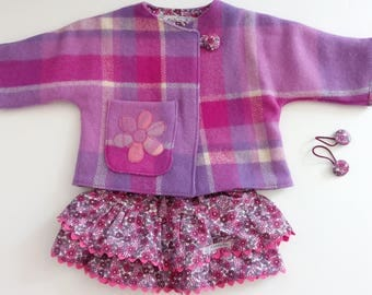baby toddler girl pink purple plaid lined wool jacket