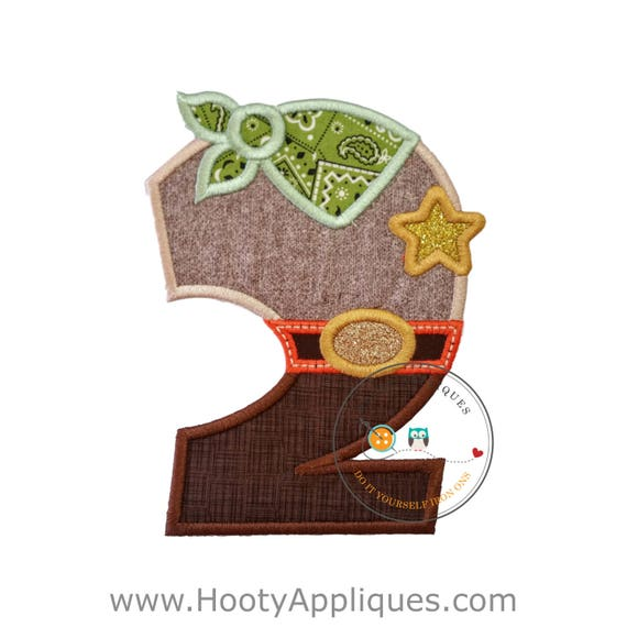 Sheriff Birthday Number Two Iron On Applique, Embroidered