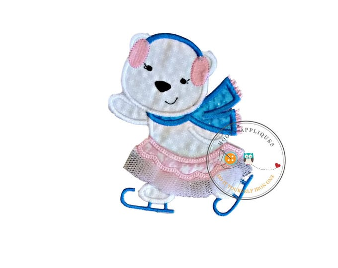 Ballerina ice skater white polar bear machine embroidered fabric iron on no sew patch, holiday patch for kids clothing