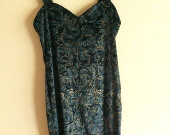 80s Velvet Brocade Evening Dress // vintage