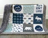 Minky Baby Blanket - Lumberjack Baby Boy Blanket - Navy Baby Boy Bedding - Adventure Blanket - Woodland Nursery - Rustic Nursery