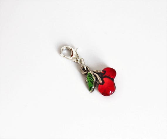 Planner charms travelers notebook cherry charm TN accessories red cherrys silver plated with enamel Traveler's notebook zipper purse bag