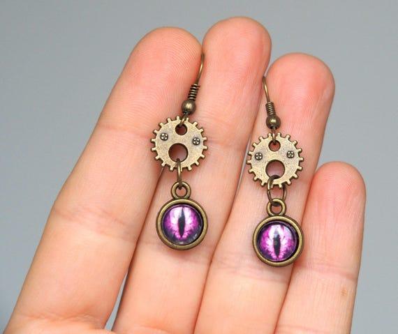 Purple dragon eye earrings Steampunk Jewelry Gears eyes Antiqued brass Small dangle Casual Everyday earrings Cool Gifts for her girlfriend