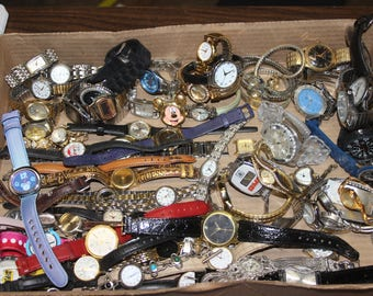 Watch Lot of 65 Destash Salvage Mixed Media Jewelry 4.4 Ibs Watches Repair