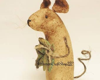 Extreme Primitive Leaf Mouse, Primitive Mouse with Leaf, Fall Decor