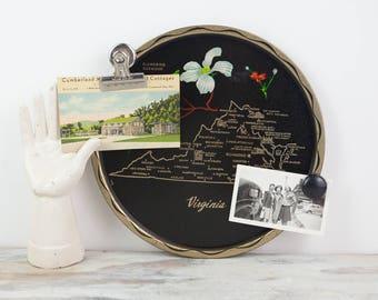 Vintage Virginia Metal Souvenir Tray w/ state flower (Dogwood), gold landmarks.