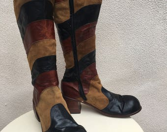 Vintage mens boots glam mod multi leather colors knee high sz 11D