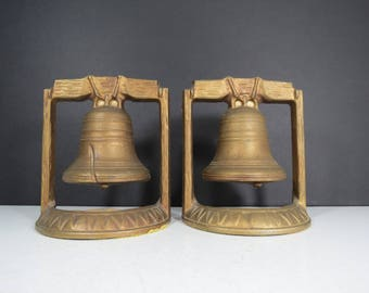 Liberty Bell Bookends // Vintage Metal Cast Bookends Gold Copper Finish Patriotic Americana Decor Colonial Rustic Decor Historical
