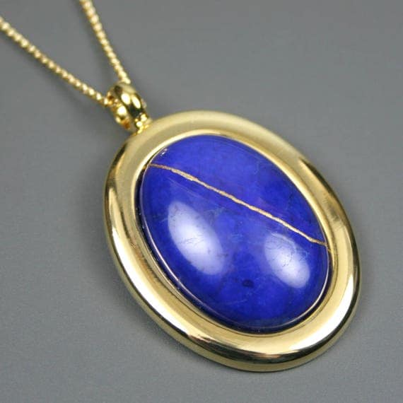 Kintsugi (kintsukuroi) lapis howlite stone cabochon with gold repair in a gold plated setting on gold chain - OOAK