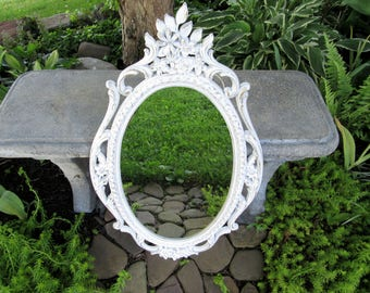 "Large Vintage Ornate White Wall Mirror 29 x 17""~1965 Mid Century Syroco Shabby Chic Mirror Flowers Victorian Bathroom Nursery Bedroom Mirror"