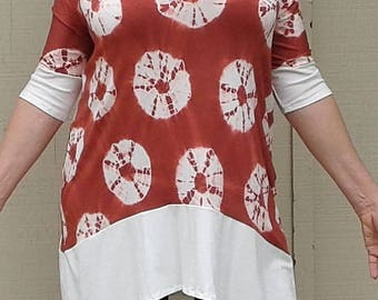 Womens tunic, women's long top, asymmetrical top, tie-dyed top, bamboo rayon, eco friendly, travel wear, all weather, soft, nice drape
