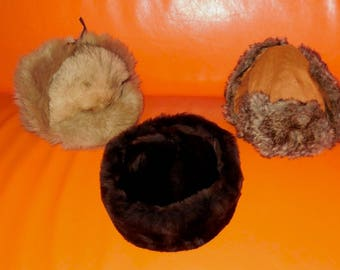 Lot of 3 Men's Vintage Hats Suede Faux Fur Trapper Style Hats Shades of Brown and Beige 22 to 23 in 56 to 58 cm