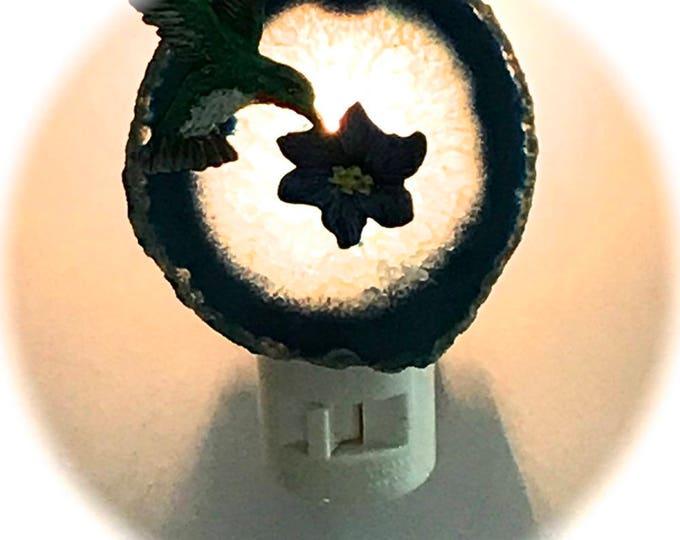 Agate Night Lights  Swivel Plug in  Hand Painted Oils Hummingbird