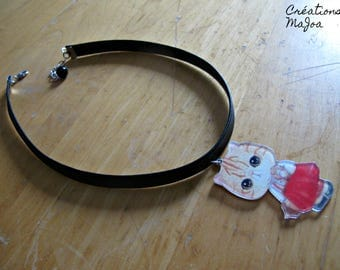 Choker ''Chat-Chat'' //Choker necklace with cat pendant