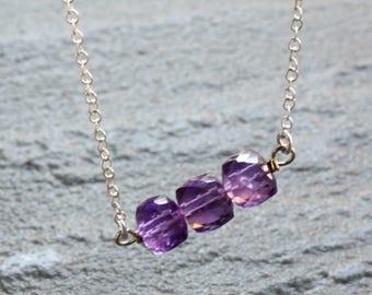 Amethyst Necklace, purple gemstone bar, Sterling Silver, minimalist everyday layered  modern, holiday gift, February birthstone, 4293