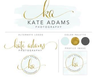 Branding Package,  Premade Logo Kit, Branding set,  Business branding, Mini Logo Package, Gold logo Branding Kit, Gold Script Logos  bp94
